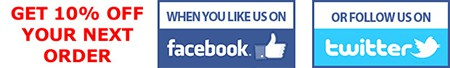 Like us on facebook or follow us on twitter for 10% off!